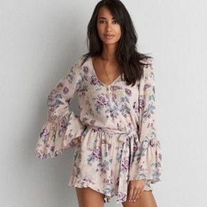 NWT AEO Bell Sleeve Floral Romper | S